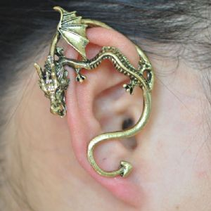Game of Thrones Dragon Ear Cuff - Curved Tail , GOLD